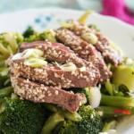 Oosterse biefstuk met broccoli en boontjes