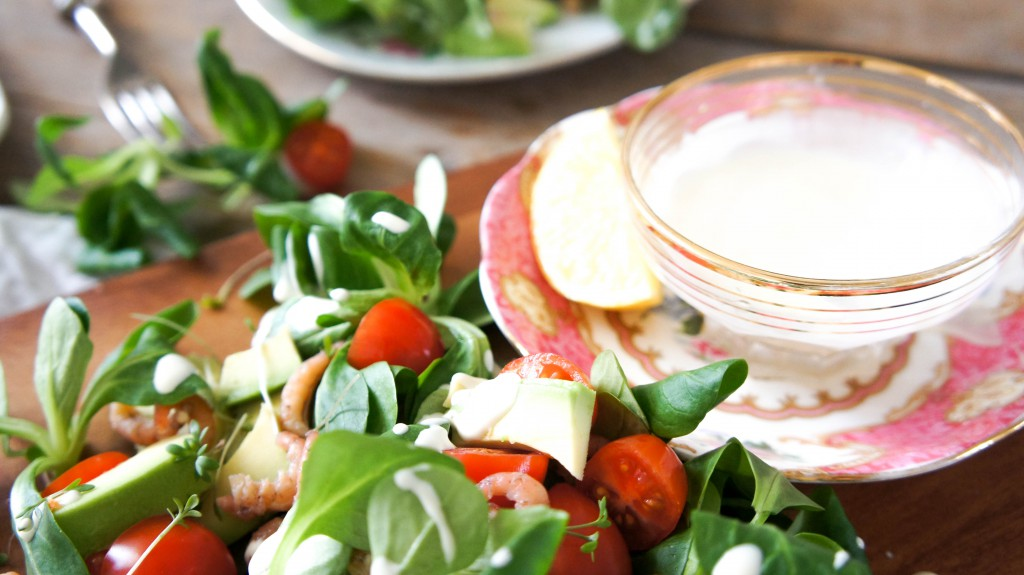 Salade met veldsla en Hollandse garnaaltjes