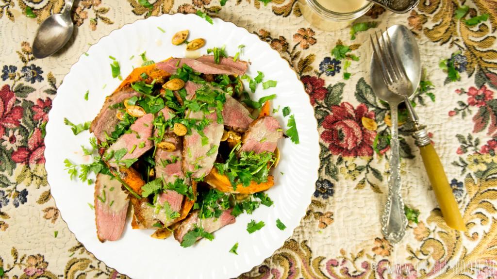 Salade met eendenborst en pompoen