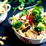 Udon noodles met kip, broccoli en shii-take + Asian Food Lovers