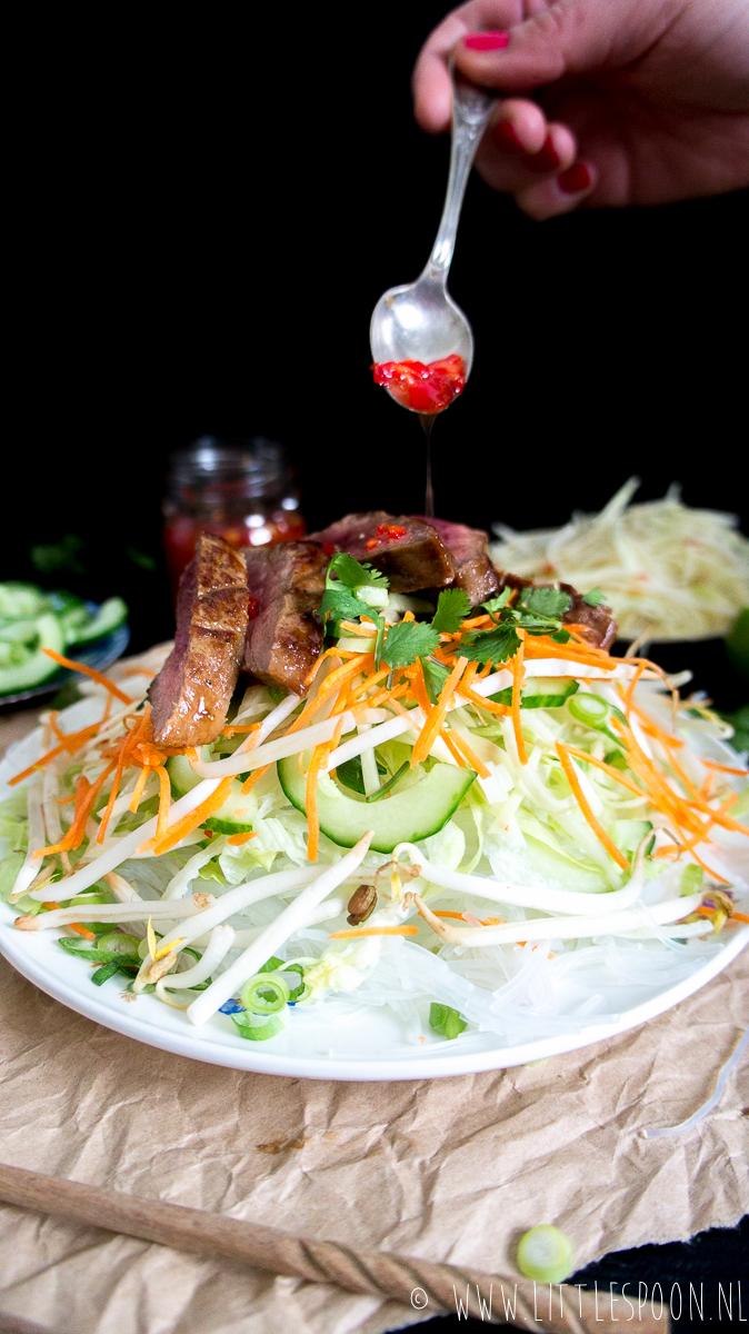 Bun Cha (Vietnamese noodles) met biefstuk