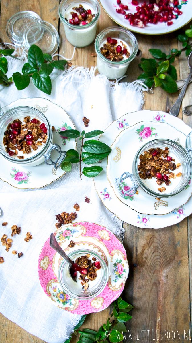 Yoghurt panna cotta met vanille en granaatappelpitjes