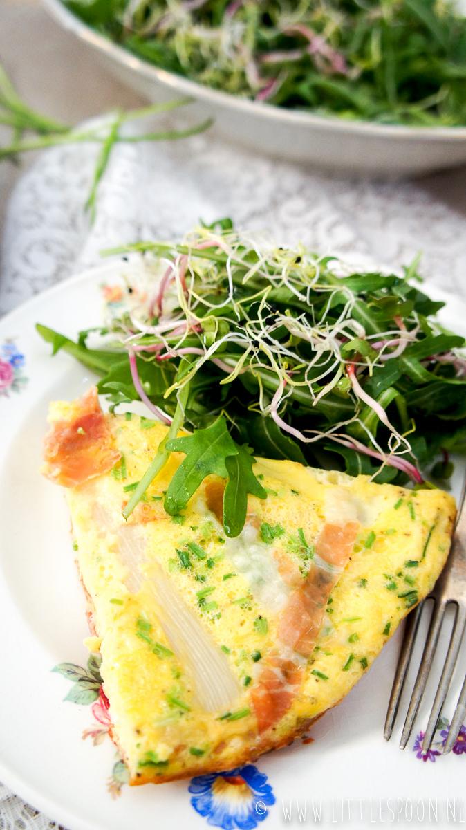 Frittata met witte asperges en parmaham