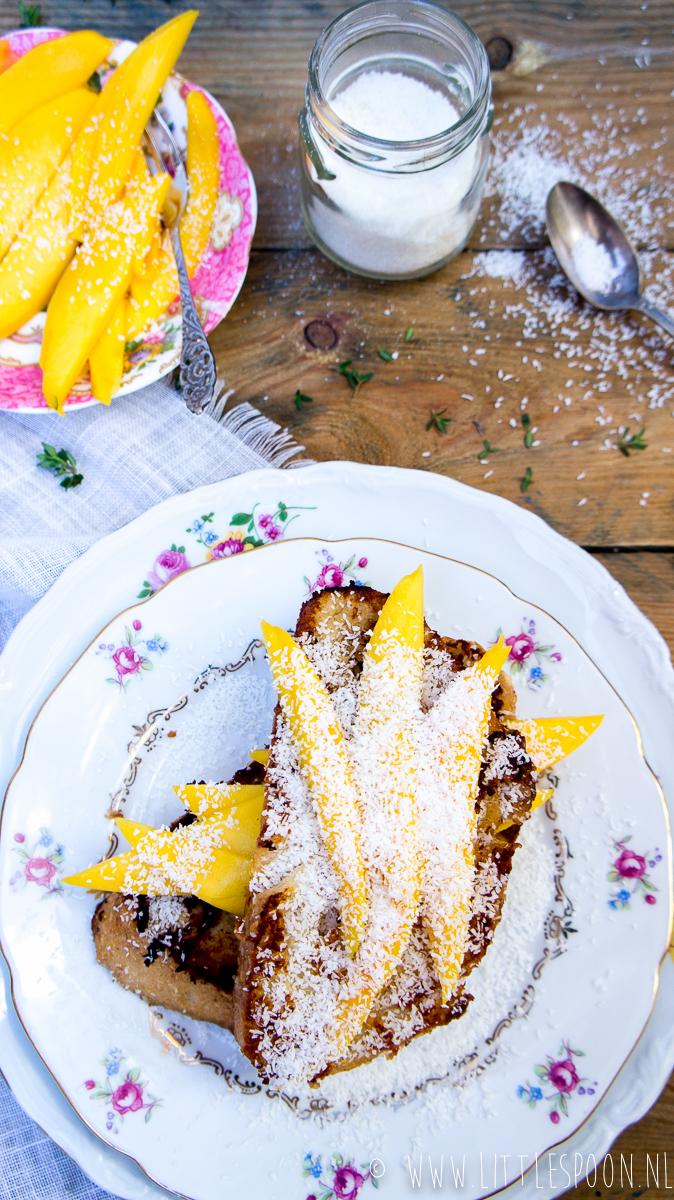 Tropische wentelteefjes met mango en kokos