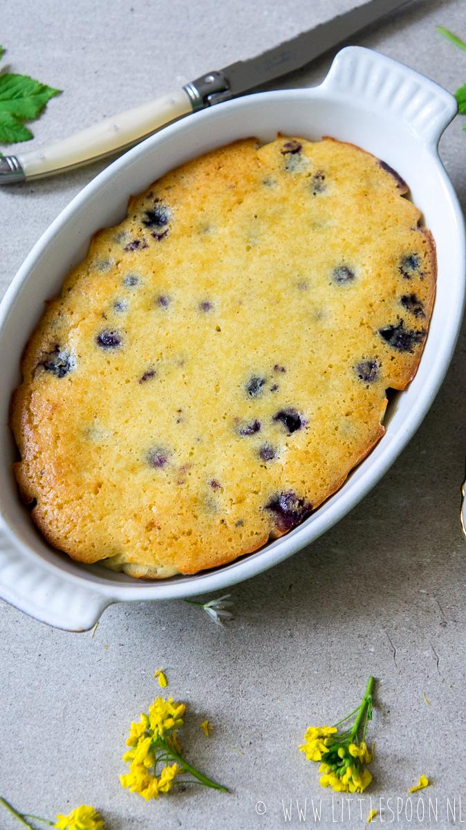 Smelt de boter. Meng de eieren, de suiker, het amandelmeel en de yoghurt met de gesmolten boter. Lepel er dan voorzichtig de blauwe bessen onder. Doe het beslag in een ingevette bakvorm (zie tip) en zet 20 minuten in een voorverwarmde oven van 180 °C. Haal uit de oven en laat de cake eerst wat afkoelen voor je hem uit de vorm haalt.