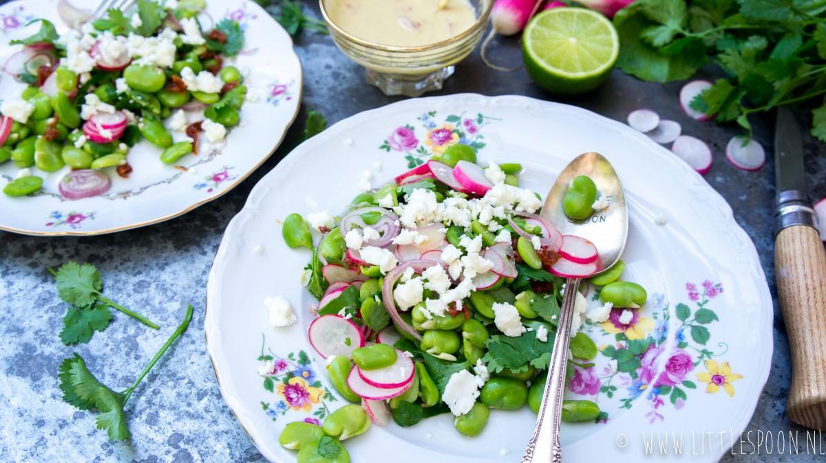 Tuinbonensalade met radijs, feta en tahindressing