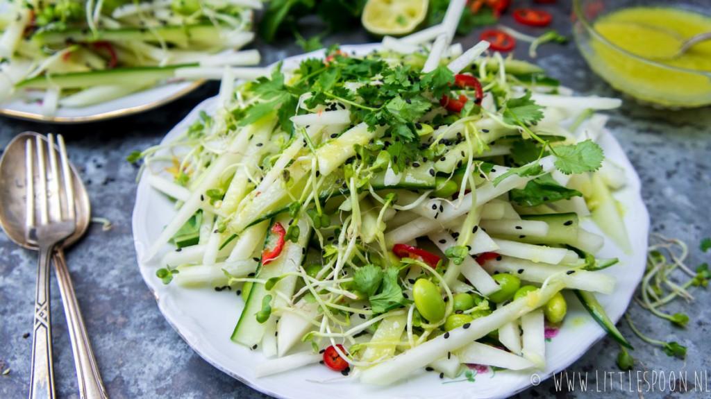 Salade met koolrabi, komkommer, sojaboontjes en wasabidressing