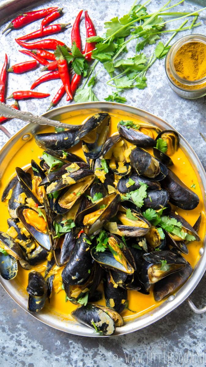 Indiase mosselen met romige currysaus