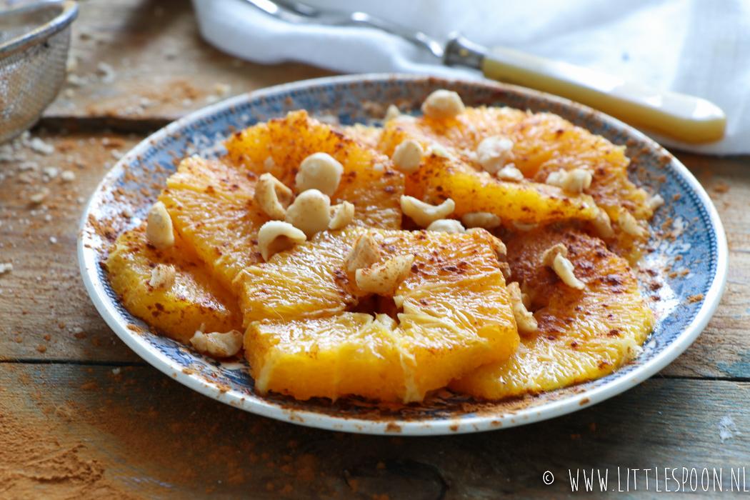 Gezond tussendoortje // Sinaasappel met kaneel en hazelnoten