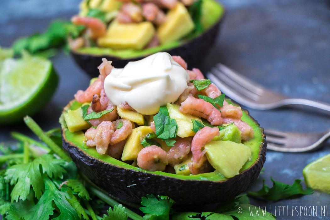 Avocado gevuld met Hollandse garnalen