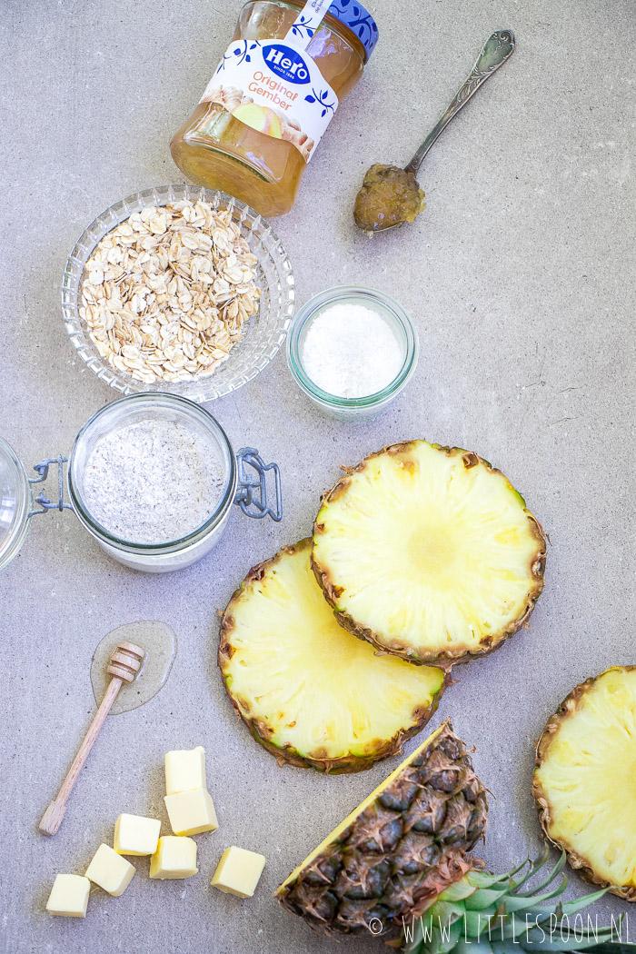 Tropische ananascrumble met gember