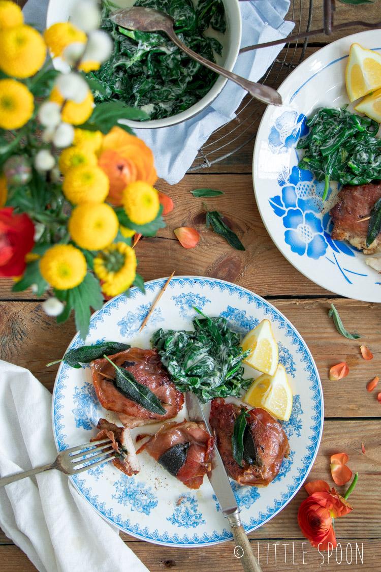 Saltimbocca van kip met romige spinazie