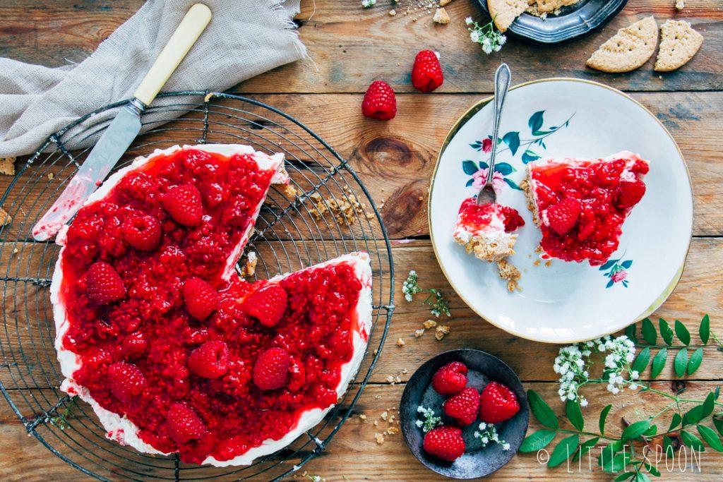 Frisse frambozencheesecake