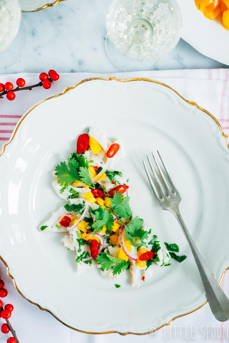 Ceviche van kabeljauw met frisse dressing