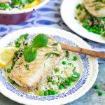 Gebakken kabeljauw met frisse rijstsalade